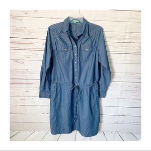 Boden Cotton Chambray Drawstring Henley Dress